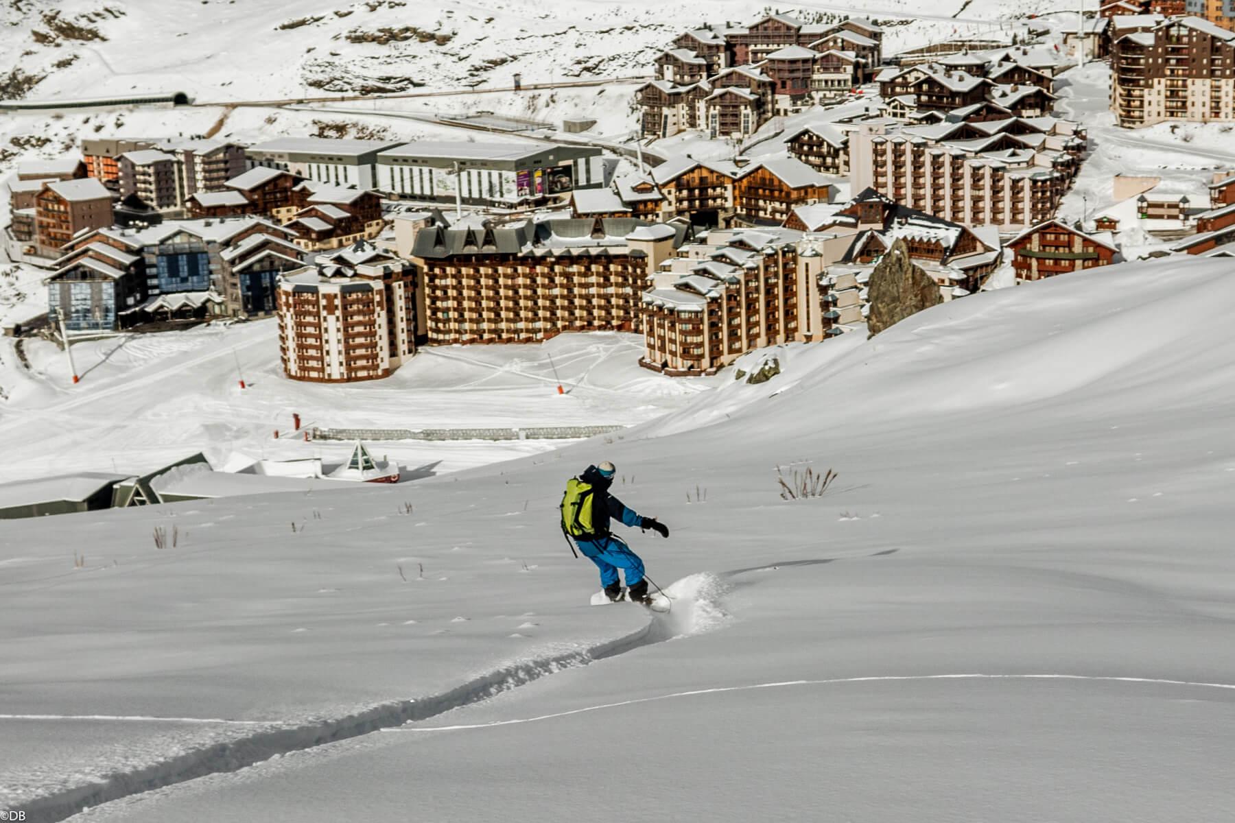 Powsurf à Val Thorens en neige poudreuse